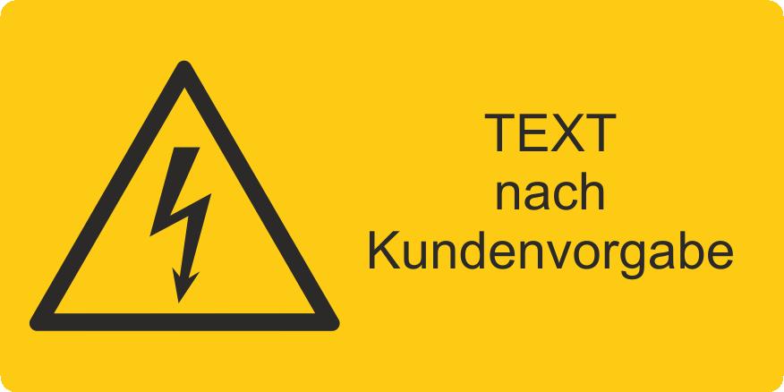 Warnung vor gefährlicher  elektrischer Spannung mit Text