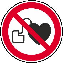 Zutritt für Personen mit Herzschrittmachern oder implantierten Defibrillatoren
